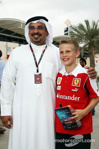 HRH Prince Salman bin Hamad Al Khalifa, Crown Prince of Bahrain with a young Ferrari fan