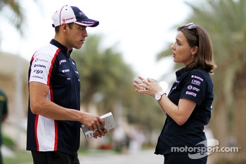 Pastor Maldonado, Williams with Claire Williams, Williams Deputy Team Principal
