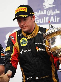 Kimi Raikkonen, Lotus F1 Team celebrates his second position on the podium