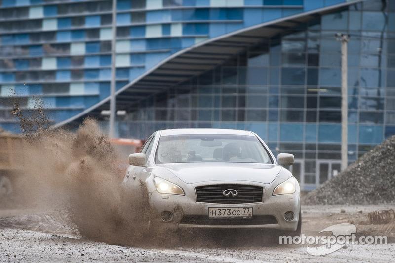 Sebastian Vettel drives on part of the Sochi circuit