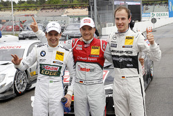 Second place Augusto Farfus, BMW Team RBM BMW M3 DTM, pole winner Timo Scheider, Audi Sport Team Abt Audi RS 5 DTM, third place Christian Vietoris, Mercedes AMG DTM-Team HWA DTM Mercedes AMG C-Coupé