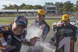 Podium: race winner Craig Lowndes, Red Bull Holden, second place Jamie Whincup, Red Bull Holden