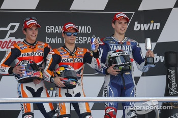 Podium: second place Marc Marquez, Repsol Honda Team, race winner Dani Pedrosa, Repsol Honda Team, third place Jorge Lorenzo, Yamaha Factory Racing 