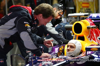 Christian Horner, Red Bull Racing Team Principal with Sebastian Vettel, Red Bull Racing