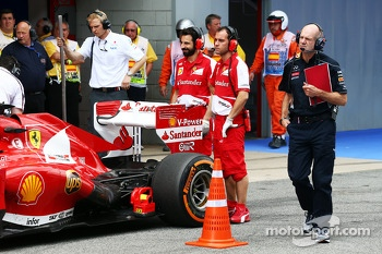 Adrian Newey, Red Bull Racing Chief Technical Officer takes a look at the Ferrari