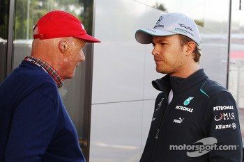 (L to R): Niki Lauda, Mercedes Non-Executive Chairman with Nico Rosberg, Mercedes AMG F1 W04