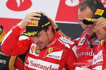 The podium, Ferrari, race winner; Stefano Domenicali, Ferrari General Director; Felipe Massa, Ferrari, third