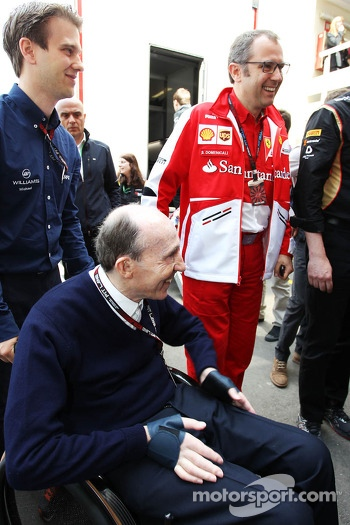 Frank Williams, Williams Team Owner with Stefano Domenicali, Ferrari General Director