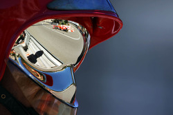 Fernando Alonso, Ferrari F138 reflected from a fireman's helmet visor