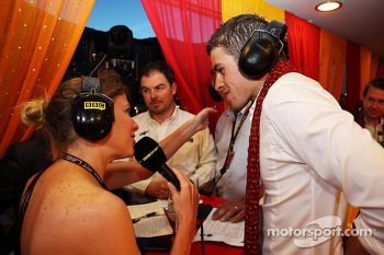 (L to R): Jenny Gow, BBC Radio 5 Live Pitlane Reporter with Paul di Resta, Sahara Force India F1 at the Signature F1 Monaco Party