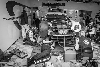 Aston Martin Racing team members at work