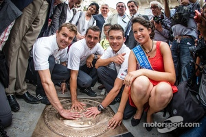 Hand imprint ceremony: 2012 24 Hours of Le Mans winners Marcel Fässler, Andre Lotterer and Benoit Tréluyer with Miss 24 Hours Le Mans 2013
