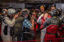 Allan McNIsh celebrating with Brad Kettler after securing pole for the 24 Hours of Le Mans