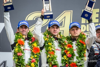 LMGTE Pro podium: class winners Marc Lieb, Richard Lietz, Romain Dumas