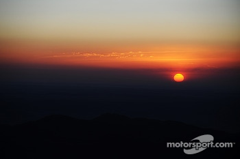 The sun rises over Pikes Peak