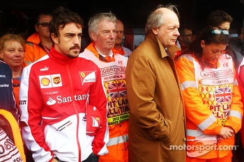 Fernando Alonso, Ferrari amongst the drivers, marshals, and Jean Todt, FIA President, who paid their respects to Mark Robinson, the marshal tragically killed at the Canadian GP