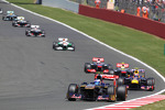 Daniel Ricciardo Scuderia Toro Rosso STR8 leads Mark Webber Red Bull Racing RB9