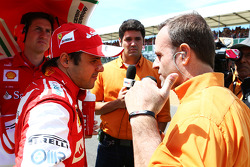 Rubens Barrichello with Felipe Massa Ferrari on the grid
