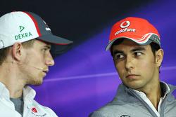 Sergio Perez, McLaren in the FIA Press Conference