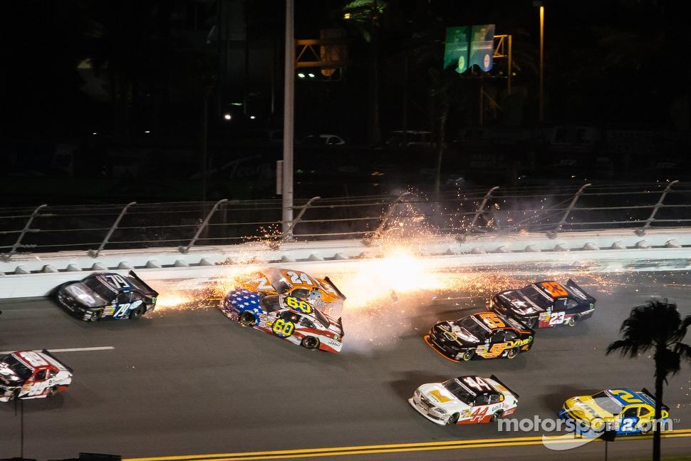 Travis Pastrana crashes with Jason White and Jeffrey Earnhardt