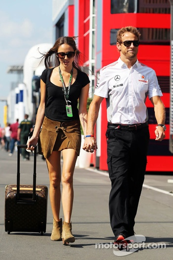 Jenson Button, McLaren with girlfriend Jessica Michibata