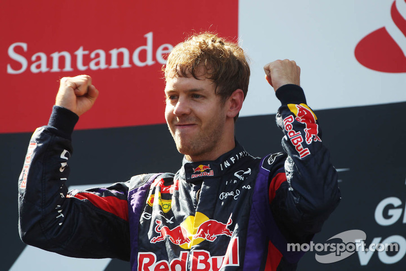 Race winner Sebastian Vettel, Red Bull Racing celebrates on the podium