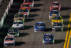 Dale Earnhardt Jr., Hendrick Motorsports Chevrolet and Ricky Stenhouse Jr., Roush Fenway Racing Ford lead a group of cars