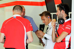 (L to R): John Booth, Marussia F1 Team Team Principal with Max Chilton, Marussia F1 Team and Sam Village, Marussia F1 Team