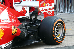 Pirelli tyre on the Ferrari F138 and rear wing detail