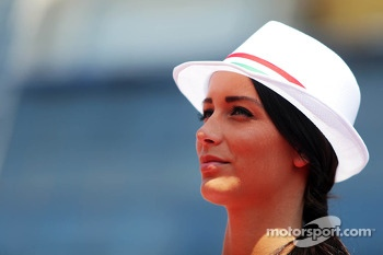 A grid girl on the drivers parade