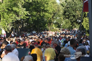 The streets of Elkhart Lake were packed with fans at the Friday concours.