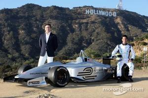 Test driver Lucas di Grassi, Alejandro Agag, CEO, Formula E Holdings, Formula E Los Angeles presentation