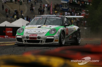 A bit too close... #94 SpeedLover Porsche 997 GT3 R: Jean-Michel Gerome, Wim Meulders, Rik Renanms, Philippe Richard