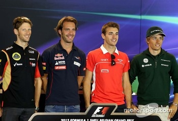 Romain Grosjean, Lotus F1 Team, Jean-Eric Vergne, Scuderia Toro Rosso, Jules Bianchi, Marussia Formula One Team  and Charles Pic, Catheram Formula One Team at the press conference.