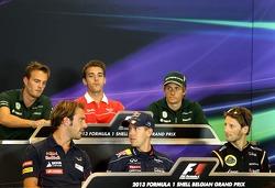 Jean-Eric Vergne, Scuderia Toro Rosso , Sebastian Vettel, Red Bull Racing and Romain Grosjean, Lotus F1 Team at the press conference.