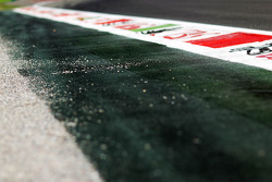 Circuit kerb and a gravel trap