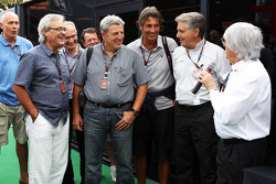 Bernie Ecclestone, CEO Formula One Group, with members of the media