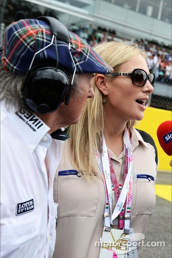 (L to R): Jackie Stewart, with Zara Phillips, on the grid