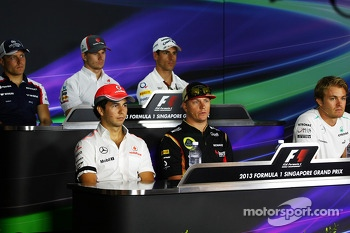The FIA Press Conference, Williams; Nico Hulkenberg, Sauber; Adrian Sutil, Sahara Force India F1; Sergio Perez, McLaren; Kimi Raikkonen, Lotus F1 Team; Nico Rosberg, Mercedes AMG F1.  19.09.2013. Formula 1 World Championship, Rd 13, Singapore Grand Prix,