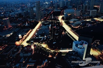 Aerial view of the circuit at night