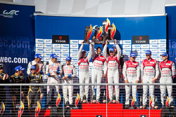 LMP1 podium: class and overall race winners Tom Kristensen, Loic Duval, Allan McNish, second place Anthony Davidson, Sébastien Buemi, Stéphane Sarrazin, third place André Lotterer, Benoit Tréluyer, Marcel Fässler, LMP1 privateer winners Nicolas Prost, Nic