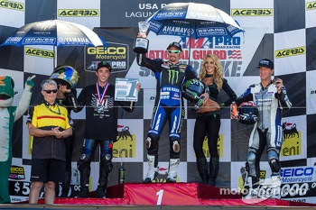 Superbike podium: 1st place Josh Hayes, 2nd place Josh Herrin, 3rd place Larry Pegram