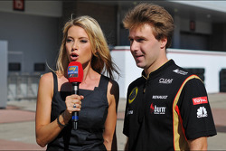 Davide Valsecchi, Lotus F1 Third Driver with Sarah Winkhaus, Sky Sports F1 Presenter
