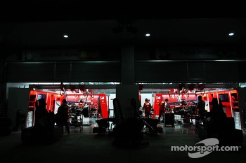 Ferrari pit garages at night