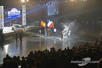 Podium: winners Sébastien Ogier and Julien Ingrassia, second place Daniel Sordo and Carlos del Barrio, third place Jari-Matti Latvala and Miikka Anttila