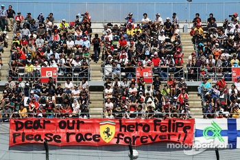 Fans and a banner for Felipe Massa, Ferrari