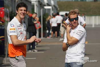 (L to R): James Calado, Sahara Force India Third Driver with Sam Bird, Mercedes AMG F1 Test And Reserve Driver