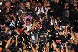 Race winner and World Champion Sebastian Vettel, Red Bull Racing celebrates with  the team