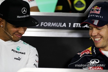 (L to R): Lewis Hamilton, Mercedes AMG F1 and Sebastian Vettel, Red Bull Racing in the FIA Press Conference