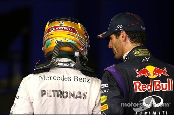Mark Webber, Red Bull Racing and Lewis Hamilton, Mercedes Grand Prix